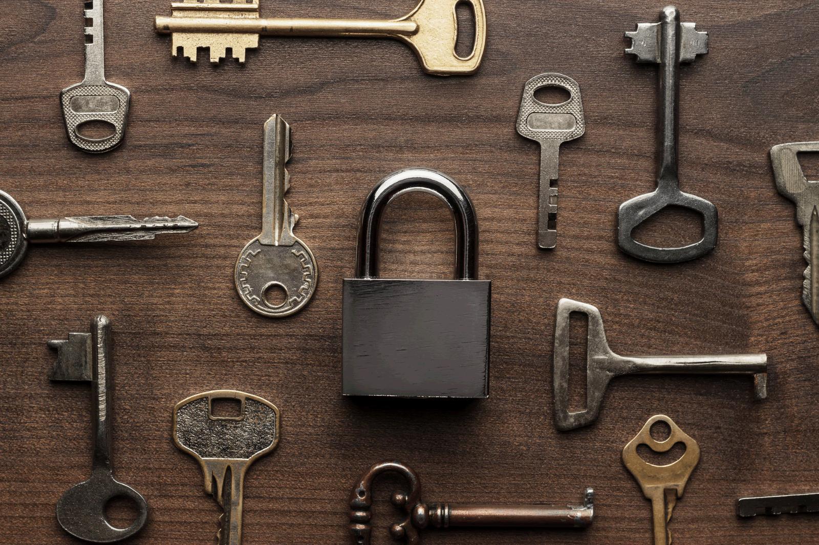 rustic locks and keys background image